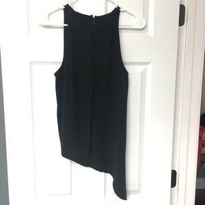 Pretty pleat-back, asymmetrical black top